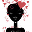 Girl silhouette with hearts — Stock Vector