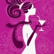 Beautiful woman silhouette with a glass in a hand — Stock Vector