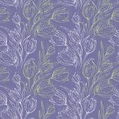 Bezešvé květinový vzor s tulipány — Stock vektor