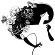 Beautiful woman silhouette with flowers and butterflies in haer — Vettoriali Stock