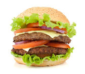 Fresh burger with two beef pieces — Stock Photo