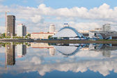 Nemiga district and Svisloch river in Minsk, Belarus — Stock Photo