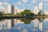 Nemiga district and Svisloch river in Minsk, Belarus — Stock Photo