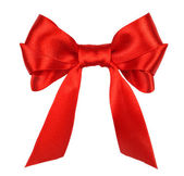 Red gift satin ribbon bow — Stock Photo