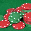 Red and green poker chips — Stock Photo