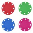 Colorful poker chips on white background — Stock Photo