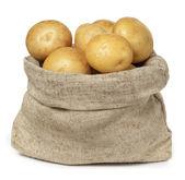 Patatas en bolsa de arpillera sobre fondo blanco — Foto de Stock