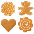 Set of christmas gingerbread on white background — 图库照片