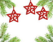 Pine tree branch and star christmas — Stock Photo