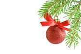 Pine tree branch and Ball christmas — Stock Photo