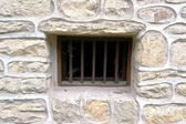 Window with metal lattice — 图库照片