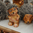 Handmade hedgehogs in souvenir shop — Stock Photo