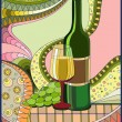 Stock Vector: Stained-glass window Wine