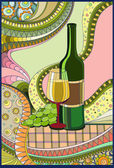 Stained-glass window Wine — Stock Vector