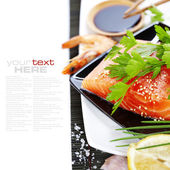 Fresh salmon and soy sause — Stok fotoğraf