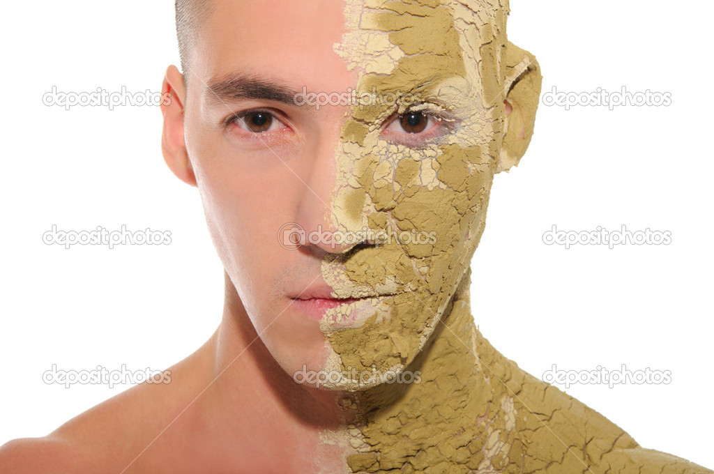 Young man half smeared with clay isolated on white — Stock Photo #6871769