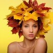 Beautiful woman with autumn leaves on yellow - Foto Stock