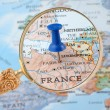 Paris map tack — Stock Photo
