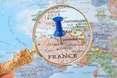 Paris map tack — Stock Photo