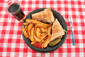 Pub blt and fries meal — Stock Photo