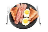 Bacon and eggs smile — Stock Photo