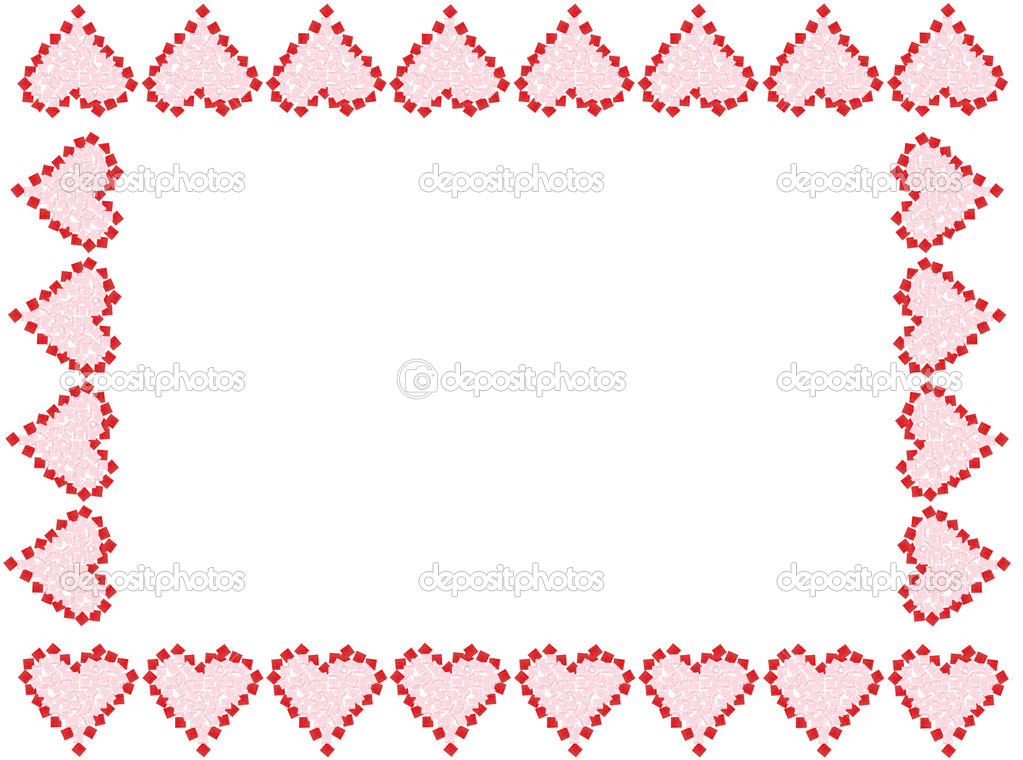 the shape of red and pink Valentine love hearts as a frame, or border ...