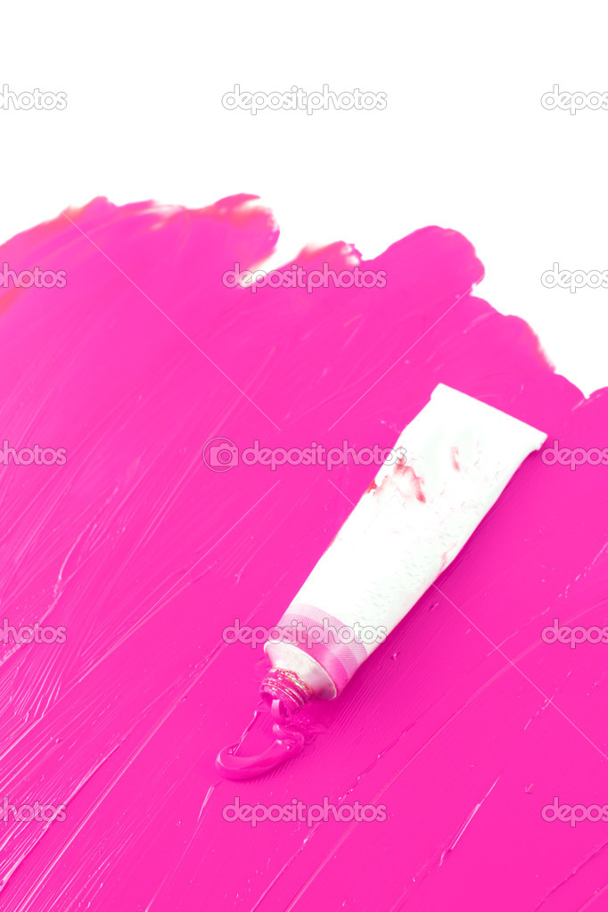 Hot pink color of artist's oil paint spilling out into a smudged painted background — Stock Photo #6936027