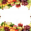 Healthy fruits and vegetables border or frame — Stock Photo