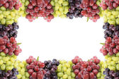 Three different types of grapes border or frame — 图库照片