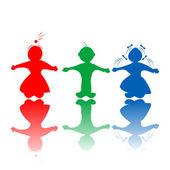 Kids in colors — Stock Vector