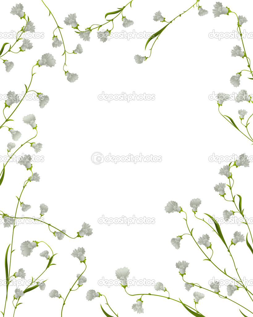 A floral frame from flowers and leaves over white  Stock Vector #6819809