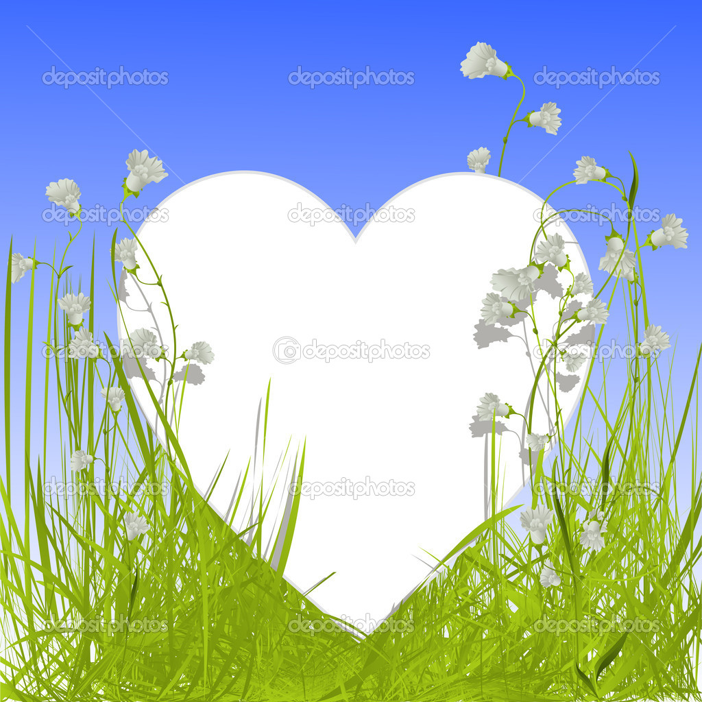 Image shows a heart shape empty card in the grass with flowers — Stock Vector #6819843