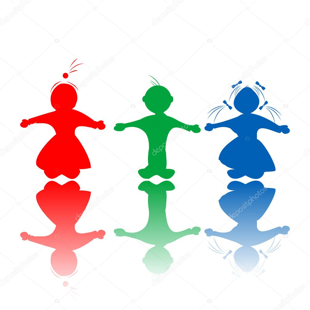 Happy hugging children silhouettes in colors, isolated objects over white background — Stock Vector #6819848
