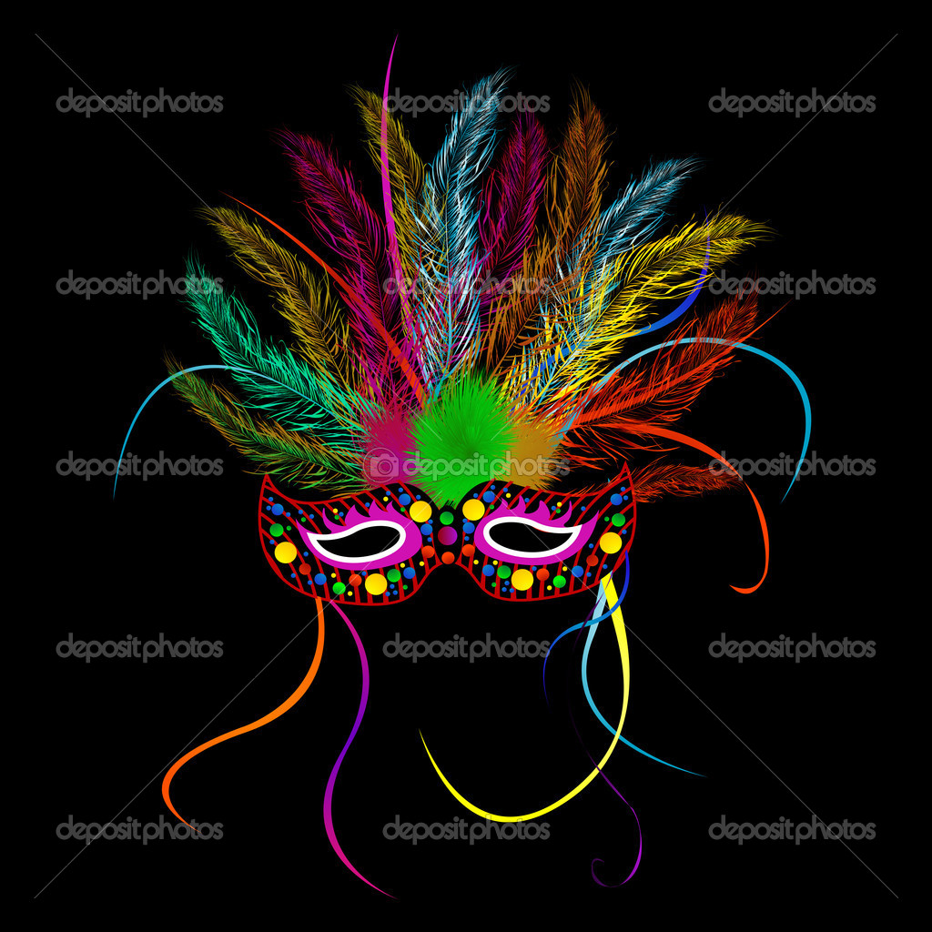 Mardi grass party mask over black background  Stock Vector #6819856
