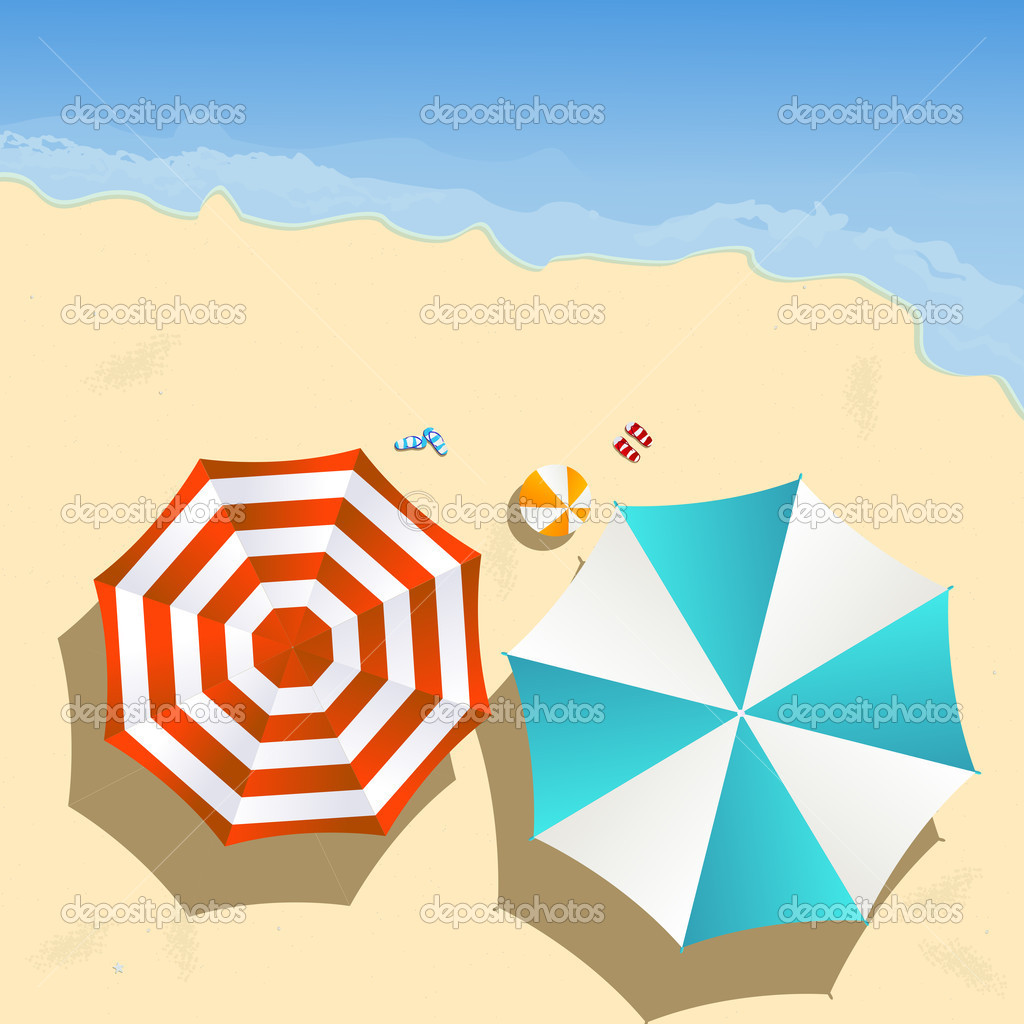 Couple of umbrellas on the beach, graphic art  Stock Vector #6819857