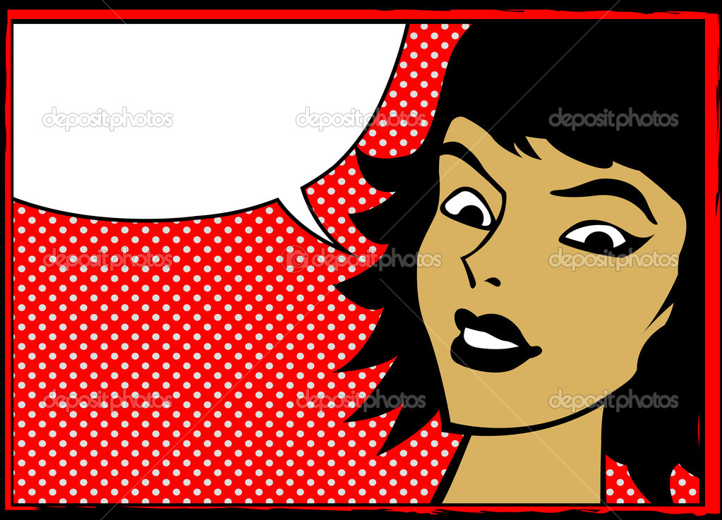 Pop art retro woman with speech bubble, comics style graphic  Stock Vector #6819869