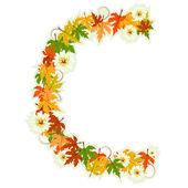 Pattern floral letter C — Stock Vector