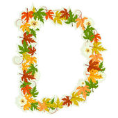 Pattern floral letter D — Stock Vector
