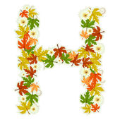 Pattern floral letter H — Stock Vector