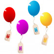 Discount balloons with price tags — Stock Vector