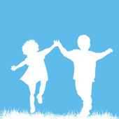 Running children silhouettes — Vector de stock