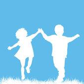 Ejecutando a niños siluetas — Vector de stock