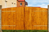 Gate house wooden board — Stock Photo