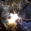 Metal welding sparks flash smoke — Stock Photo