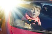 Beautiful female face motion sunlight — Stockfoto