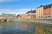 Stockholm. alte stadt-damm — Stockfoto