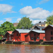 Famous wooden houses in Porvoo — Stock Photo