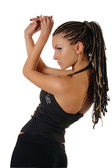 Beautiful slim tanned woman with braids — Stock Photo