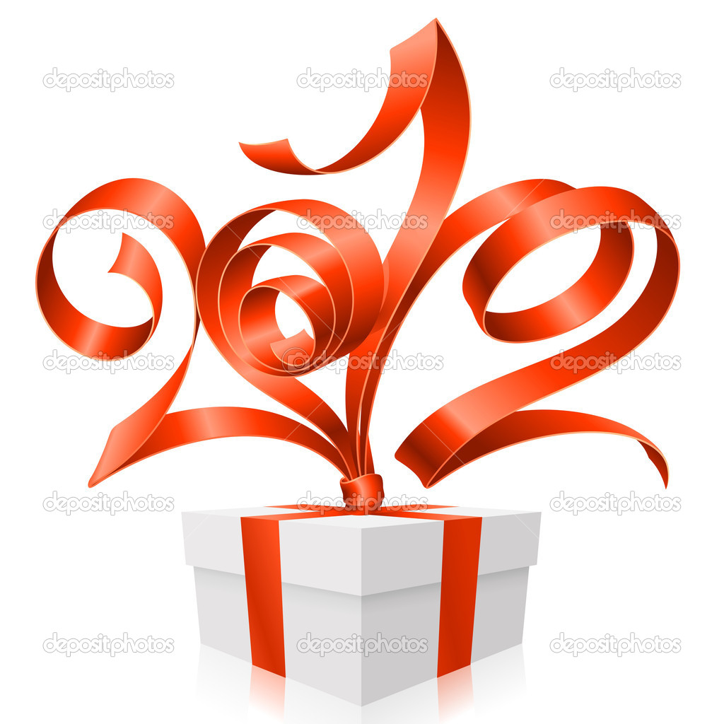 Vector gift box and red ribbon in the shape of 2012. — Stock Vector #7500495