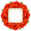 Vector Red Rose circle frame — ストックベクタ